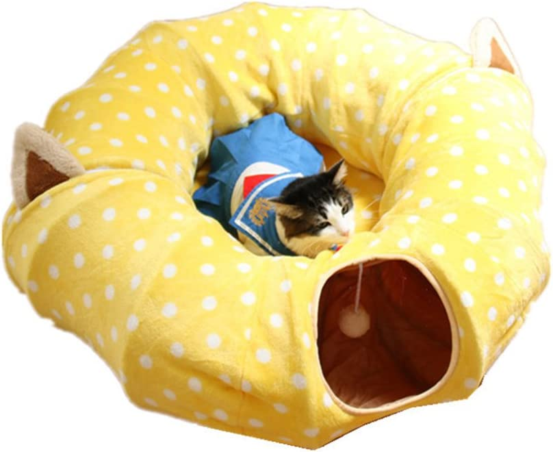 POPETPOP 1Pcs Collapsible Cat Tunnel Durable Colorful Portable Soft Kitten Tubes for Dogs Cats Rabbits Puppies