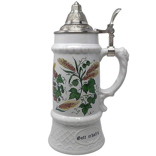Jarra cerveza cerámica WMF tapa acero inoxidable barril ...