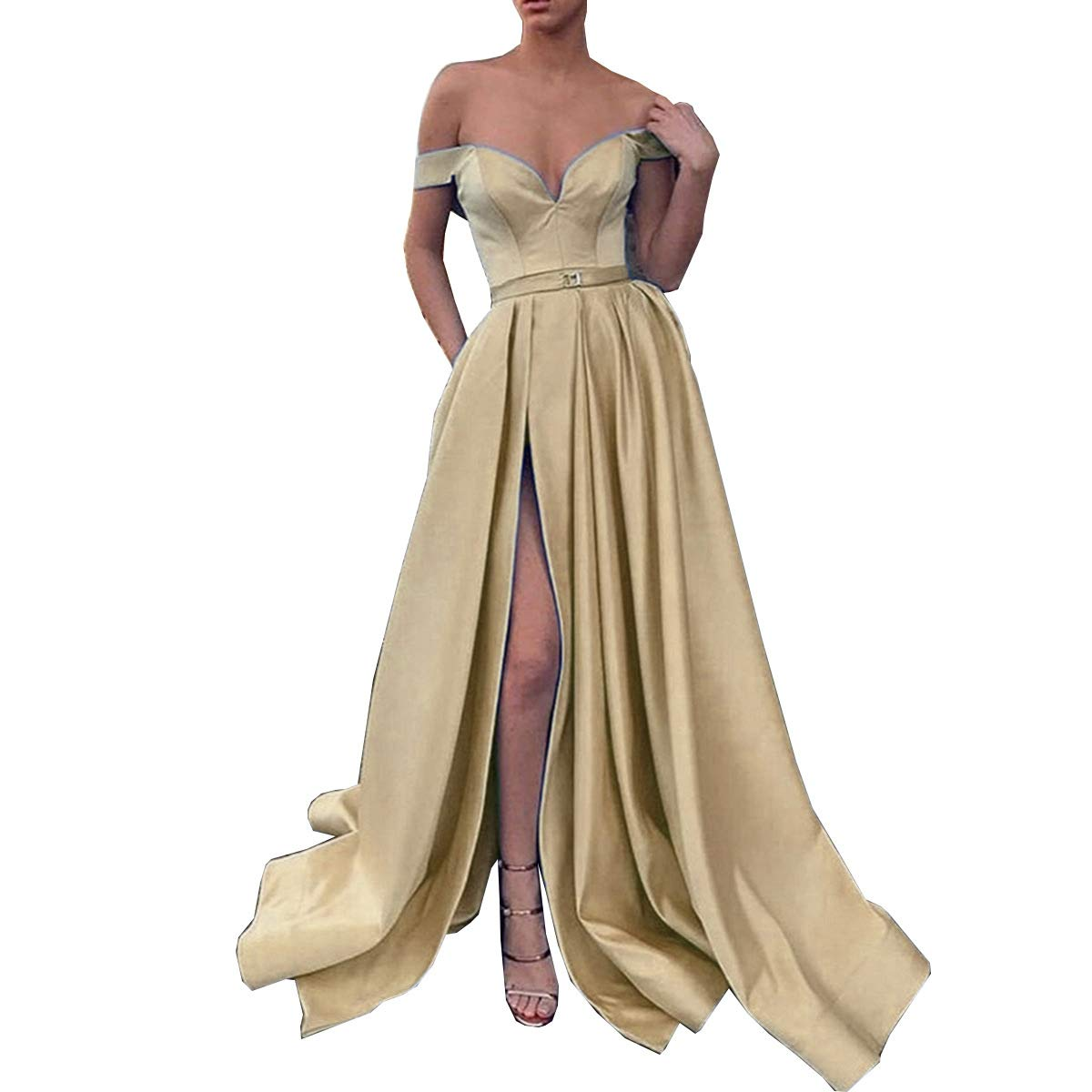 Champagne CCBubble Womens Long Satin Prom Dresses Off Shoulder High Slit Formal Evening Wedding Party Dress
