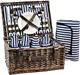 Wicker Picnic Basket for 4, Picnic Set for 4,Willow Hamper Service Gift Set for Camping and Outdoor Party Best Mother's...