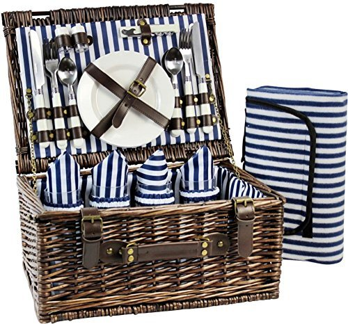 (Wicker Picnic Basket for 4, Picnic Set for 4,Willow Hamper Service Gift Set for Camping and Outdoor Party Best Mother's Day Gifts)