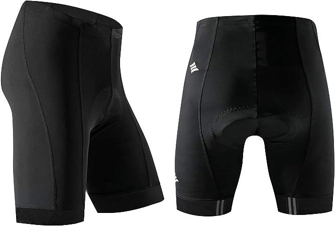 Santic Pantaloncini da Ciclismo Uomo Imbottiti Collant Bicicletta Pantaloni Riflessivo Traspirante Nero