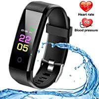 Fitness Tracker with Heart Rate Monitor, Activity Tracker Smartwatch, Waterproof Fitness Watch with Step Counter, Calorie Counter, Pedometer Watch for Men Women Kids Compatible iPhone Android