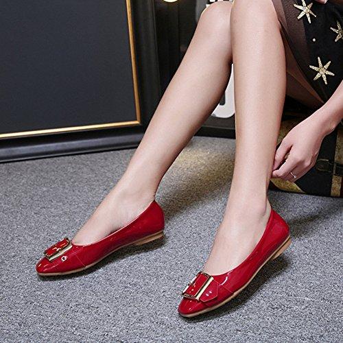 T-JULY Womens Square Toe Ballet Flats Soft Comfort Slip On Dress Shoes Red fOgjgj