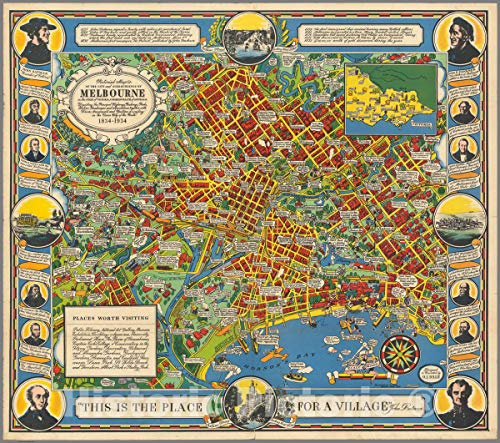 Historic Map - Pictorial map of The City and surroundings of Melbourne, 1934 Pictorial Map - Vintage Wall Art - 44in x ()