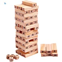 HNT Kids 54 Pcs Blocks 4 Dices Wooden Tumbling Stacking Tower Game (Multicolor)