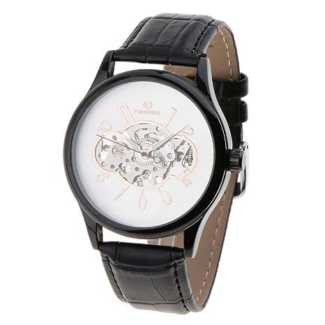 IPOTCH Reloj Moderno Esquelético Mecánico para Hombre Diámetro Dial 4cm Resistente a Agua Decoración de Muñeca