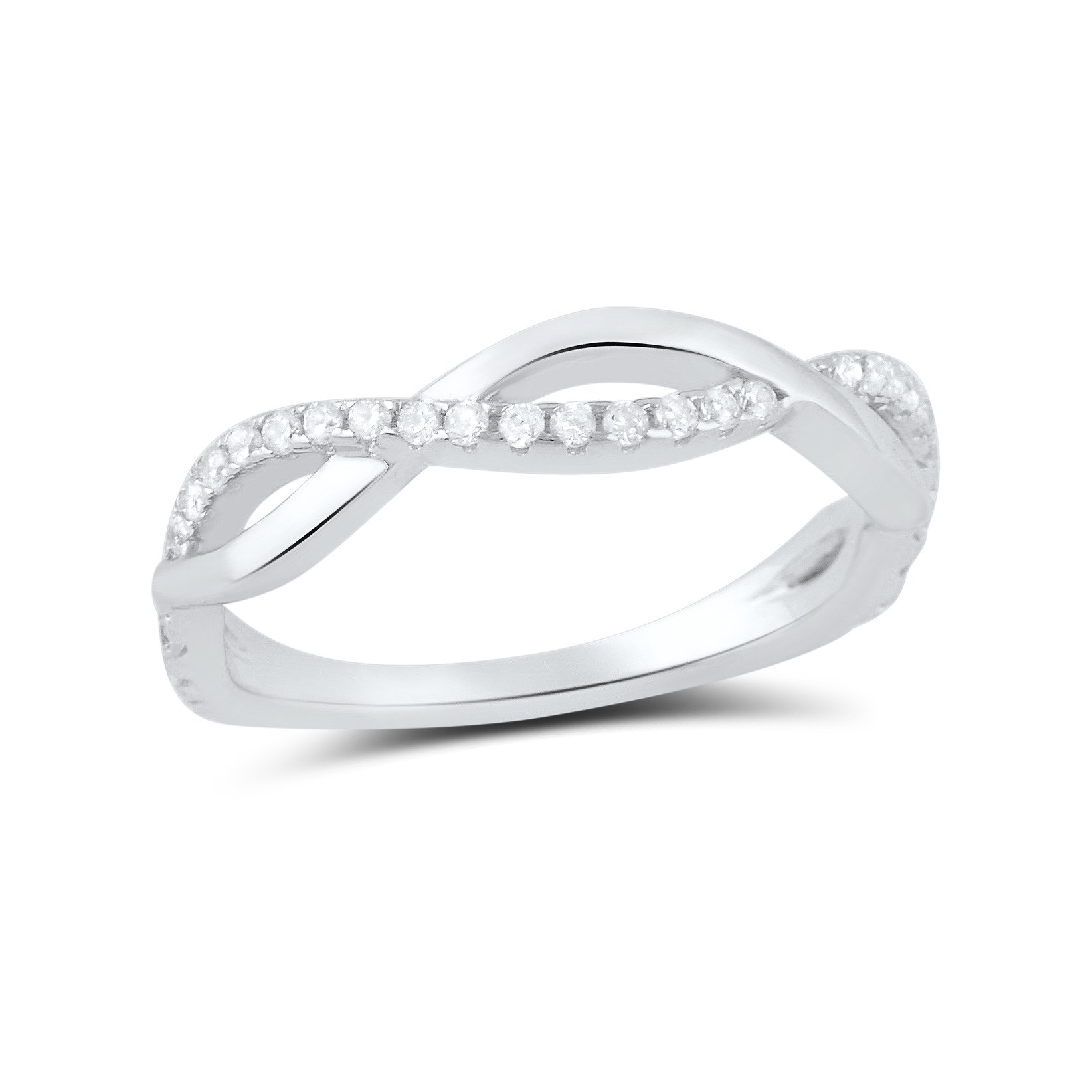 Sterling Silver Cz Stackable Twisted infinity Ring - Size 6