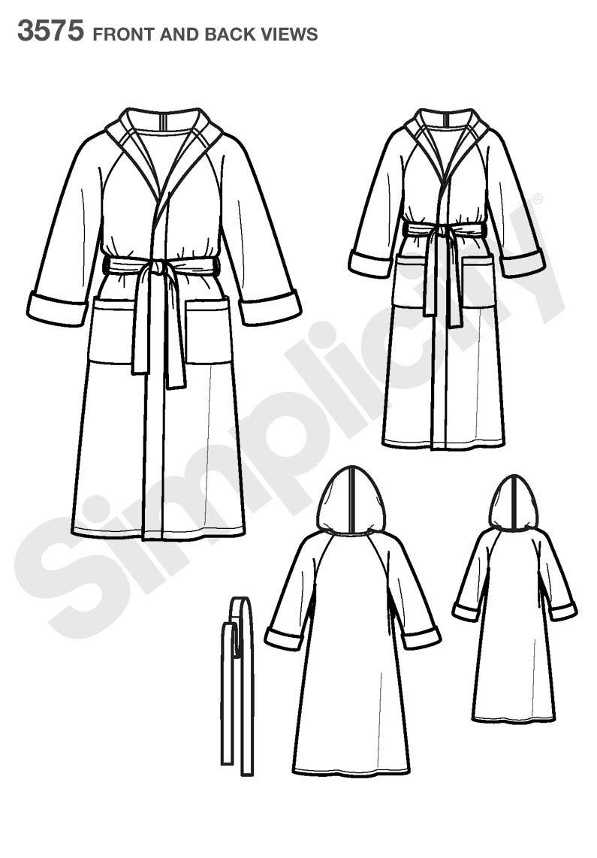 Simplicity 3575 A - Patrones de Costura para Batas de niños y Adultos: Amazon.es: Hogar