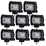 Liteway LED Pods, 8x70W Triple Row LED Light Bar 4 inch Spot Flood Combo Beam CREE LED Driving Lights Off Road Lighting LED Work Lights for Truck Car ATV Boat SUV, 1 Year Warranty