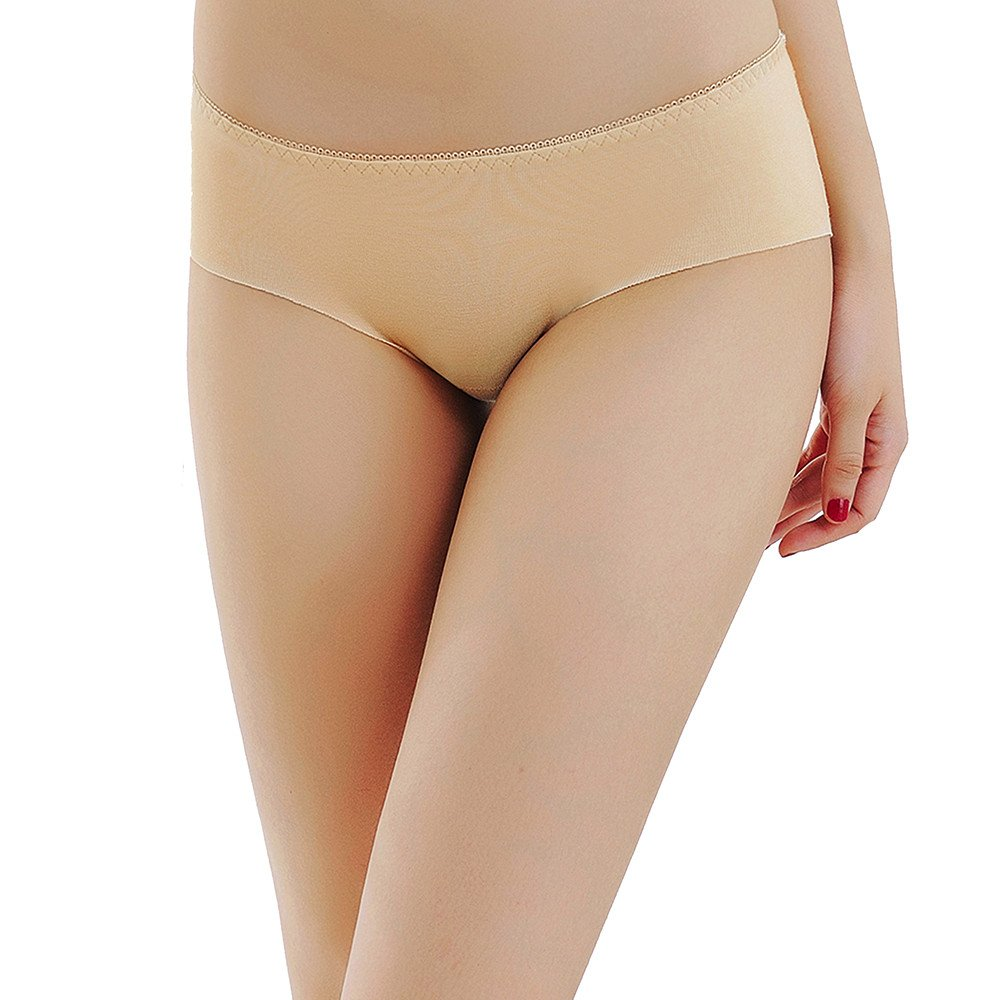 Women Lace Thong Sexy Briefs Panties Mid-Rise Seamless Underwear Sleepwear Beige