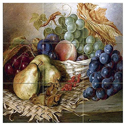 Fruit and Basket by Edward Ladell Tile Mural Kitchen Bathroom Wall Backsplash Behind Stove Range Sink Splashback 3x3 4.25