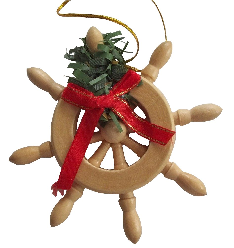 ship wheel boat sailboat nautical wooden design red bow wreath
