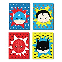 Kid's Playroom Decor 05x07 Inch Print, Superhero Posters For Kids, Baby Boy Nursery Decor, Superman, Batman, Spiderman, Captain America, Superhero Wall Art