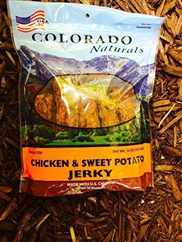 Chicken & Sweet Potato Jerky Dog Treats. Made in USA with 100% U.S.D.A. Chicken. 1lb by Colorado Naturals