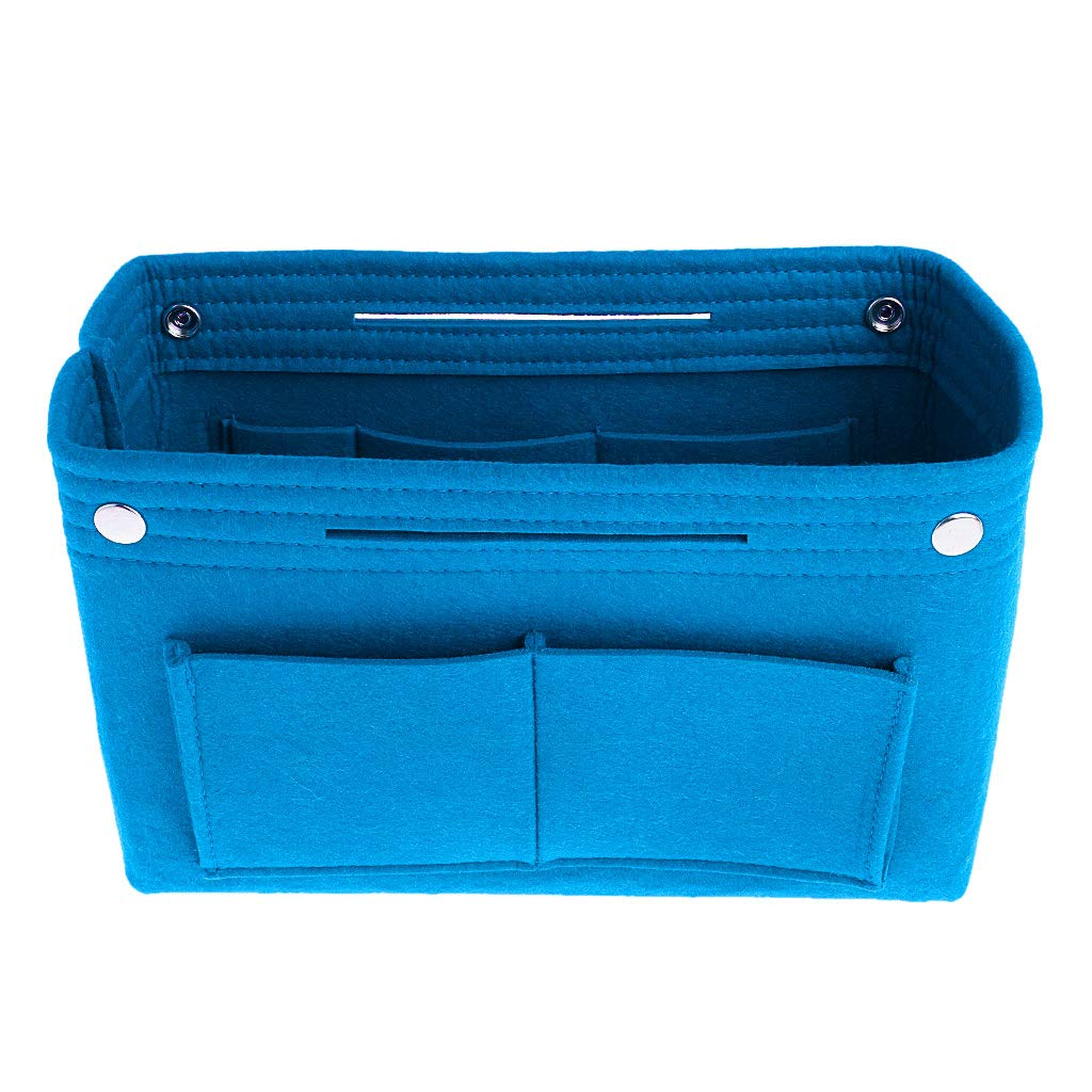 JAGENIE Felt Makeup Bag Handbag Organizer Purse Insert Bag Fabric Storage Cosmetic Pouch M Blue