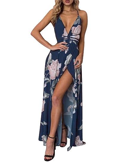 9deb7db6f7c9a BerryGo Women's Boho Backless Floral Beach Dress Sexy Split Maxi Dress