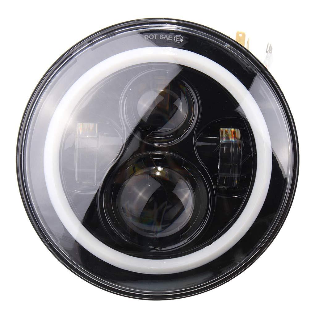 12-30V 7 Inch Round LED Front Headlights Halo Angle Eyes Light for Wrangler JK TJ 97-15 by Topker (Image #3)