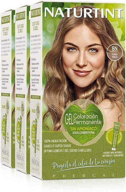 Naturtint Coloración Sin Amoniaco. 100% Cobertura de Canas. Ingredientes Naturales. Color Natural y Duradero. 8N Rubio Trigo. Pack de 3
