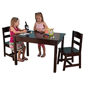 KidKraft Kids 3 Piece Wood Table and Chair Set Kids Activity Table Set Espresso  sc 1 st  Amazon.com & Amazon.com: KidKraft Kids 3 Piece Wood Table and Chair Set Kids ...