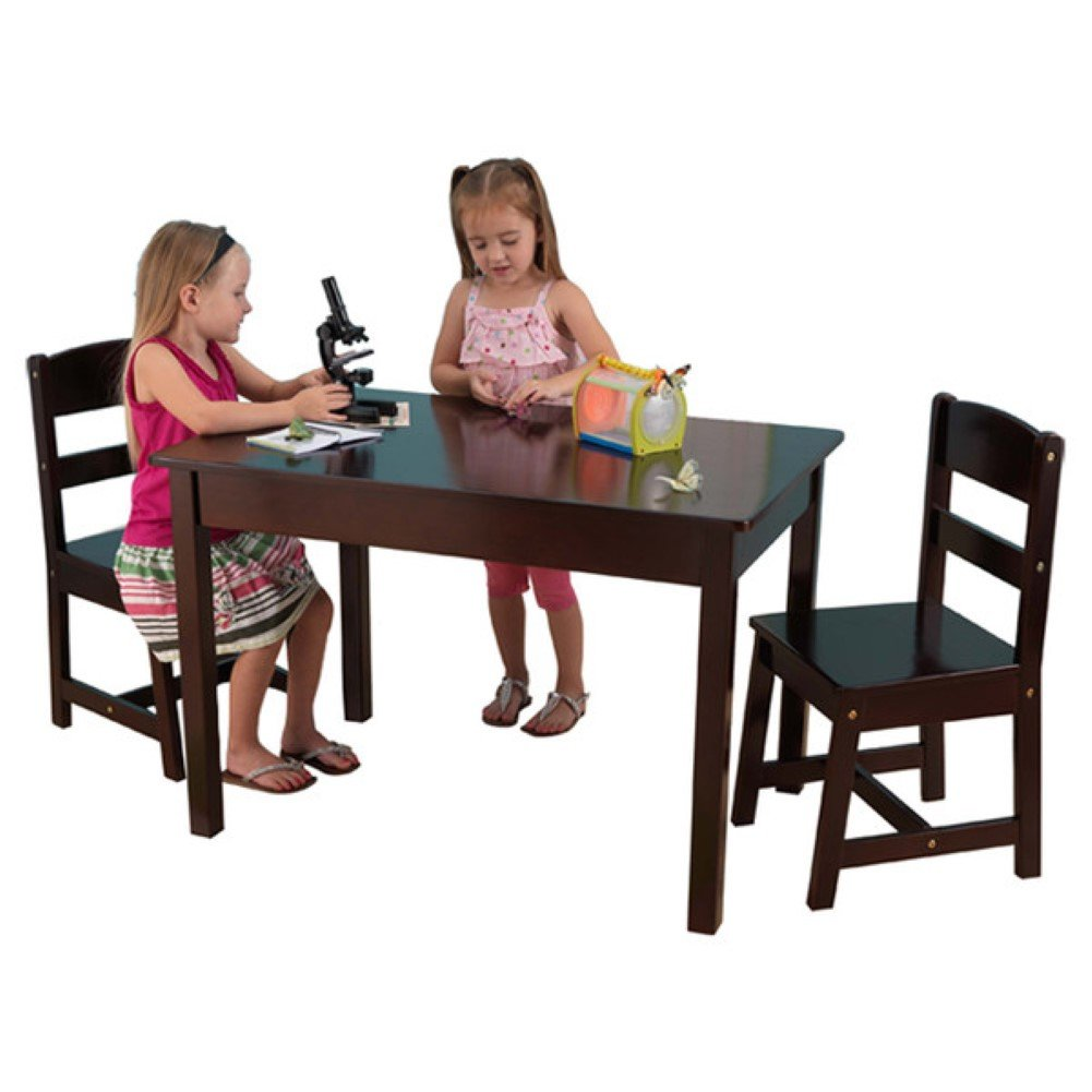 KidKraft Kids 3 Piece Wood Table and Chair Set, Kids Activity Table Set, Espresso
