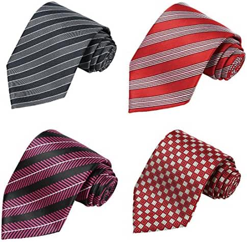 KissTies Set of 4 Ties 63'' XL Extra long Necktie Tall Tie + 1 Magnetic Boxes