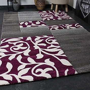 Moderner Wohnzimmer Teppich Design mit Blumenmuster Kariert ...