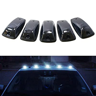 iJDMTOY Smoked Lens White LED Cab Roof Marker Running Lamps Compatible With Truck 4x4 SUV, 5-Piece Aerodynamic Low Profile Roof Running Light Set: Automotive