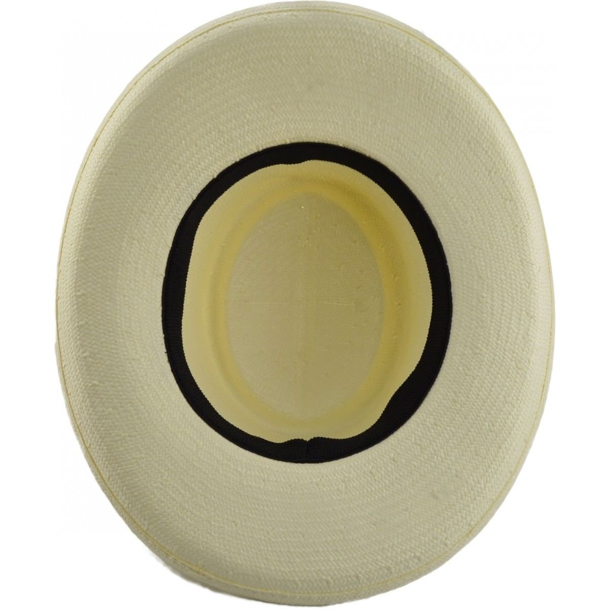 one Size Express Hats White Crushable Straw Gambler Fedora Panama Hat with Black Band