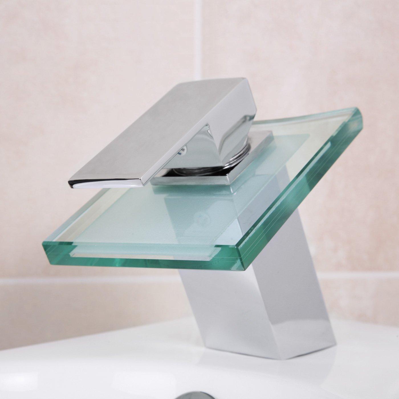 Design Wasserhahn Glas Wasserfall Bad Armatur - inkl ... | {Badarmaturen wasserfall 74}