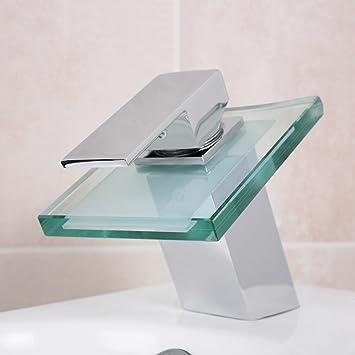 Design Wasserhahn Glas Wasserfall Bad Armatur Inkl