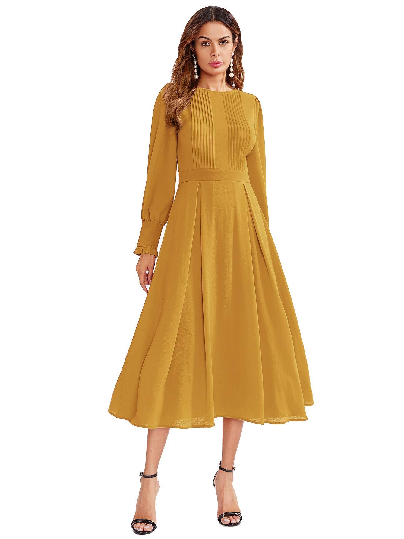 ab3dac9eae8d Milumia Women's Elegant Frilled Long Sleeve Pleated Fit & Flare ...