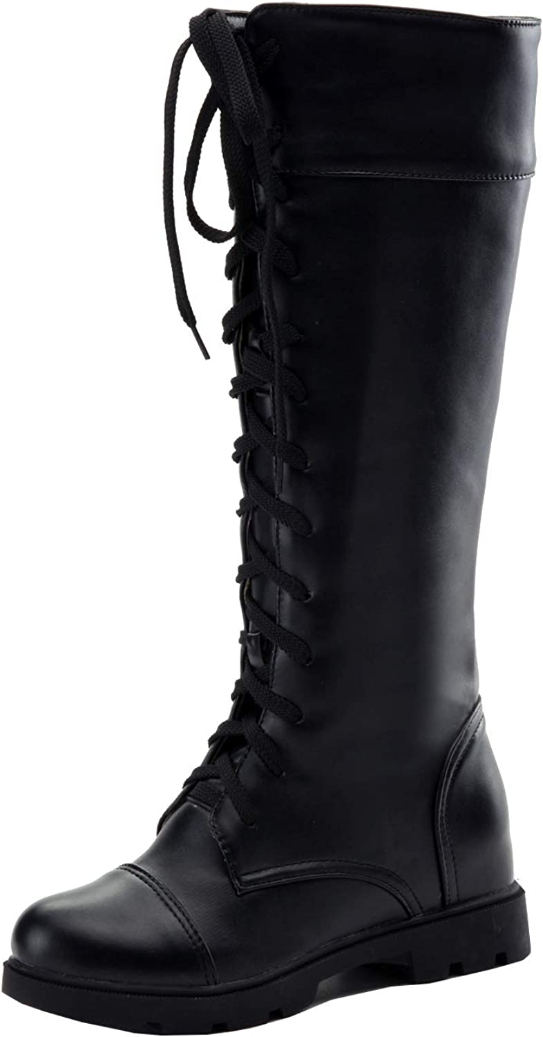 Bellirala Womens Lace Up Knee High Combat Chunky Low Heel Boots