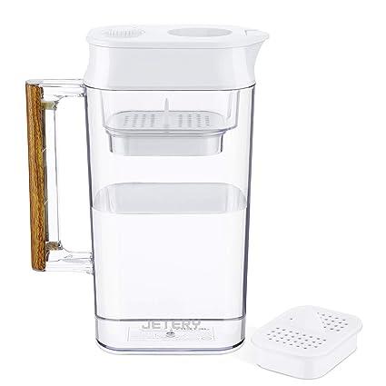 JETERY Filtro de agua Jarra Jarra Filtración ACF patentada de larga duración para la salud Agua limpia 150 galones Sin BPA Certificado NSF