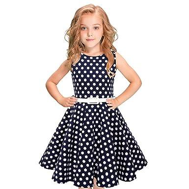 Kinder Maedchen Audrey 1950er Vintage Baumwolle Ärmellos Kleid Hepburn Stil  Kleid Blumen Kleid Tupfen Kleid 2c063c024c