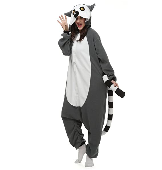 CuteOn Animal Carnaval Disfraz Cosplay Pijamas Adultos Unisex Mamelucos Homewear Ropa De Noche Lémur: Amazon.es: Ropa y accesorios