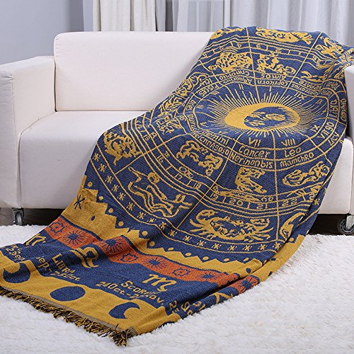 Retro Astrolabe Constellation Sofa Slipcover Furniture Protector Home Decor - with Fringe Cotton by HugeHug(Navy Yellow,70x87 inch) (Wingback Yellow Chair)