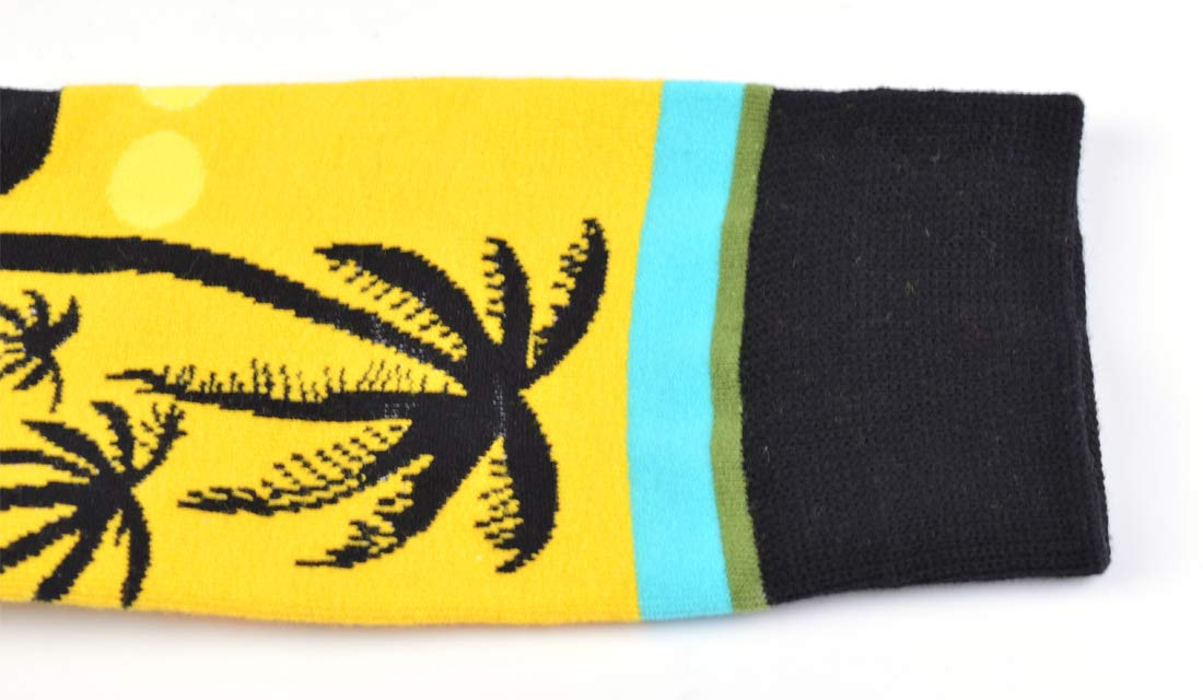 WeciBor Men's Dress Cool Colorful Fancy Novelty Funny Casual Combed Cotton Crew Socks (Coconut tree 1) by WeciBor (Image #2)