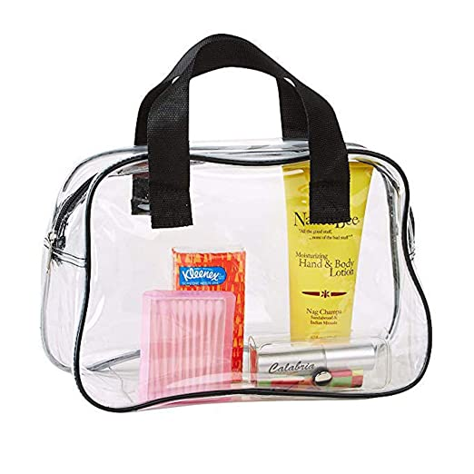 65cecb621d4496 Amazon.com: Clear Purse Stadium Approved, Clear Makeup Bag With ...