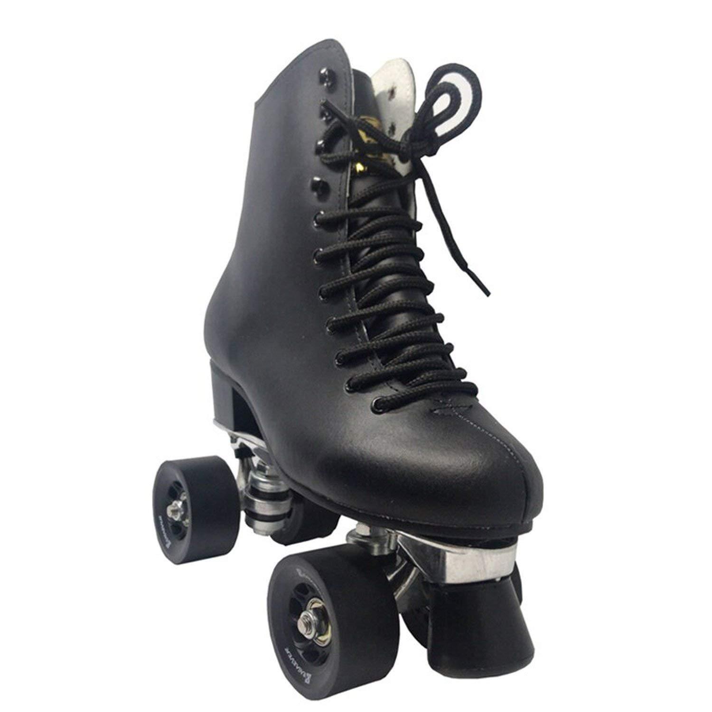 2列ローラースケート 4輪スケート メンズ 本革ブーツ アルミニウムベース アウトドア ブラッシング ストリートスケート ブラック ブラック 9 5