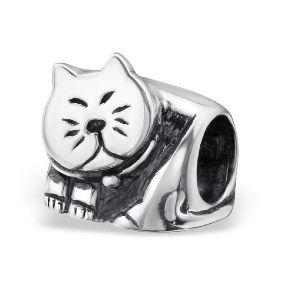 925 Sterling Silver Cat Charm Bead 25114