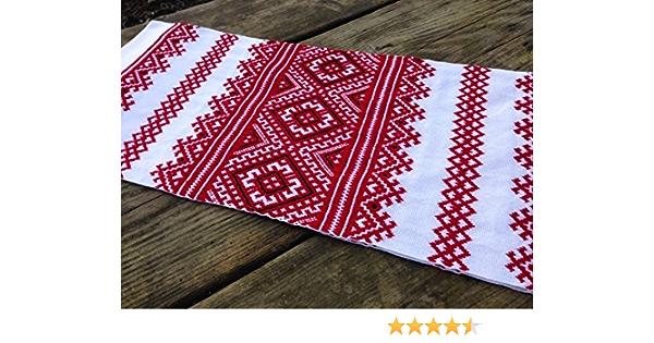Hand embroidered wedding rushnyk Ukrainian icon towel Slavic cross stitch Red poppies embroidery Ethnic table runner Folk Christmas gift