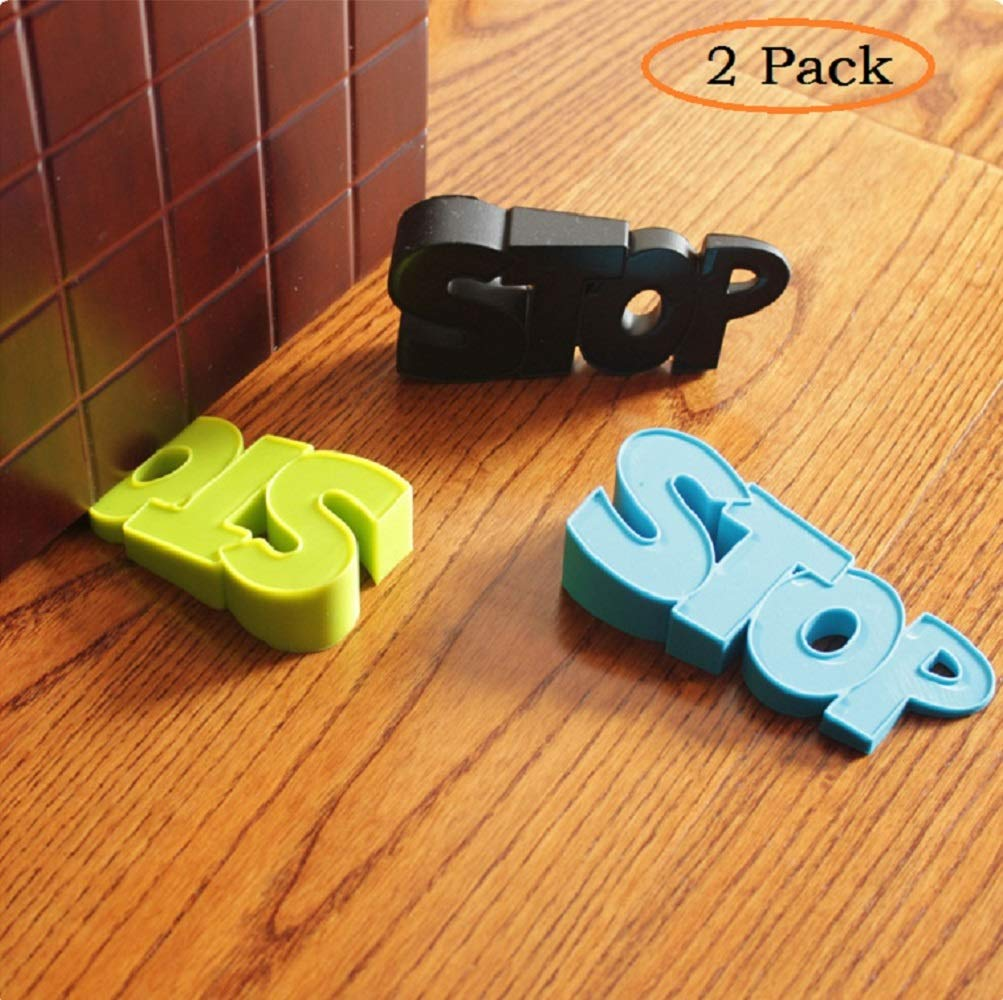 2 Pcs Rubber Door Stopper Wedge Finger Protector Works on All Surfaces, Non Scratching,Anti-Slip Design Prevents Door from Slamming Shut,Child Safety Guards