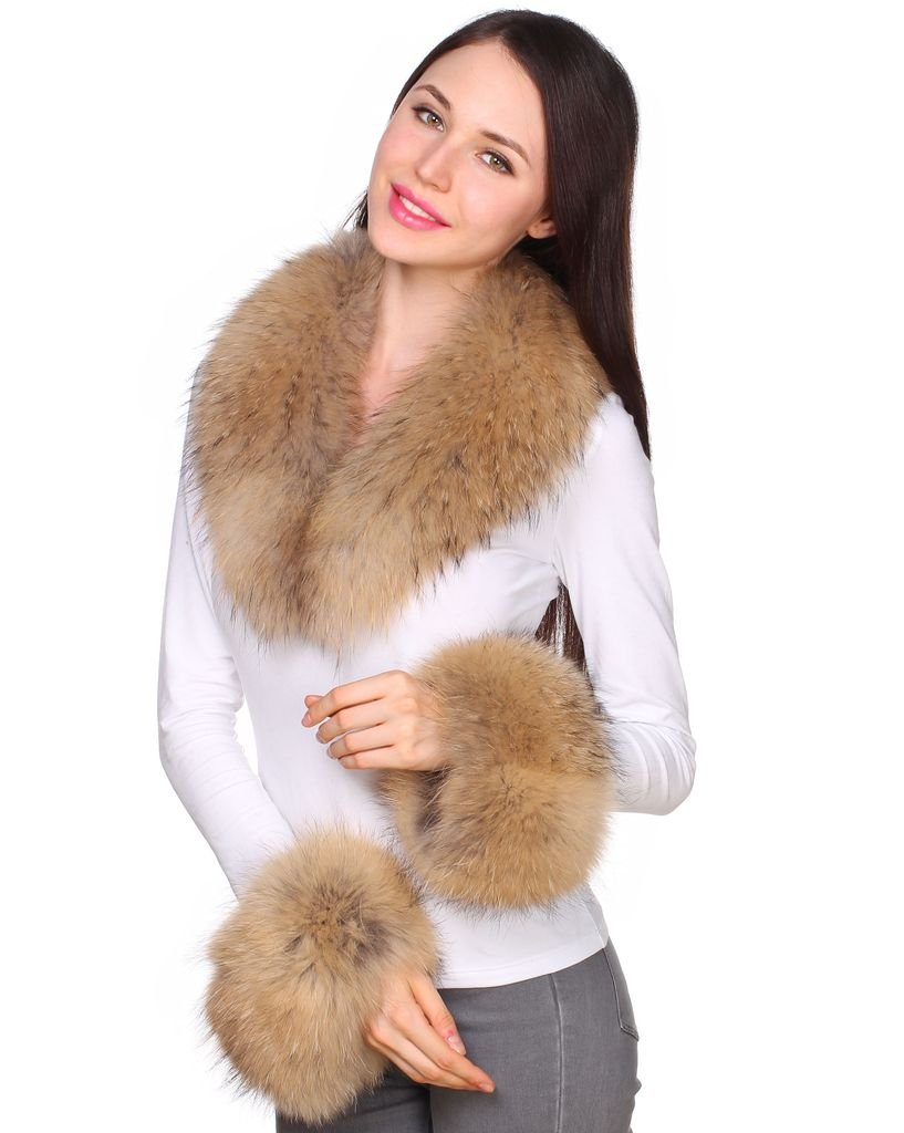 Ferand Women's Real Raccoon Fur Collar Scarf with 2 Matching Cuffs for Parka Jacket Winter Coat in Light Natural Color,31.5 inch by Ferand (Image #4)