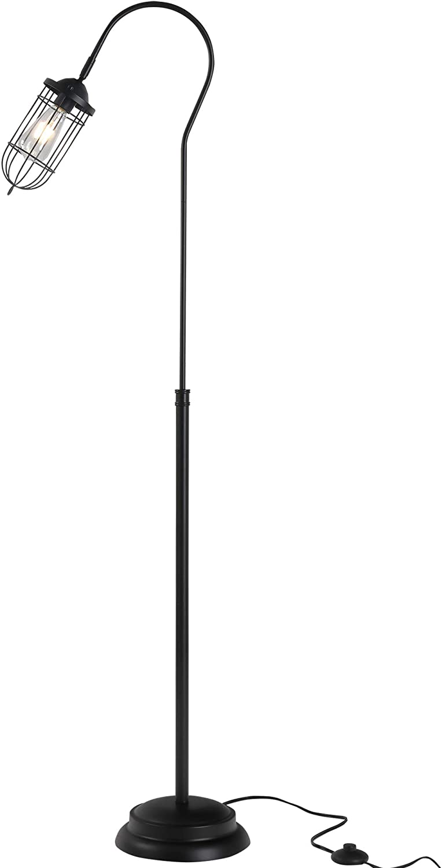 "HOMCOM 61.75"" Vintage Floor Lamp Standing Lamp with Rotatable Lampshade E26 Socket Pin Steel Living Room, Black"