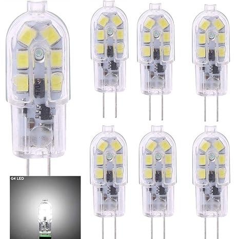 6 bombillas LED G4, luz blanca fría 6000 K, 2 W (20 W