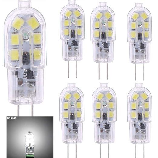 6 bombillas LED G4, luz blanca fría 6000 K, 2 W (20 W equivalente a bombilla ...