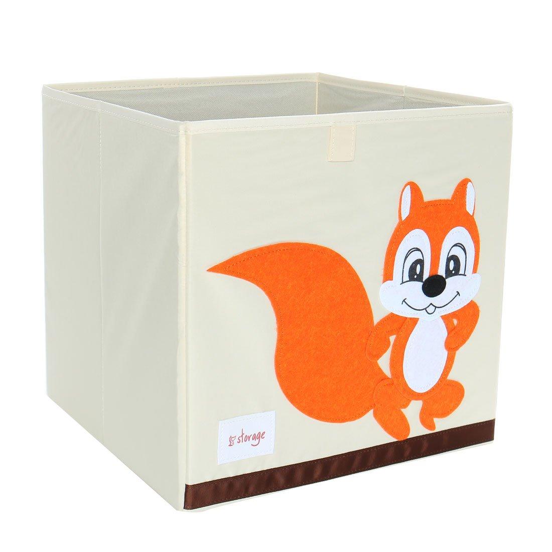 PiccoCasa Foldable Toy Storage Bins Square Cartoon Animal Storage Box Eco-Friendly Fabric Storage Cubes Organizer for Bedroom Playroom Orange Squirrel No Lid 13''x13''x13''