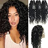 RISSING 360 Frontal with Bundles Pre Plucked Lace Frontal, Brazillian Water Wave Human Hair Bundles with Closure Prime Deals in Bulk Hair A Package for Cheap Deals on Amazon (14 16 18 +12)