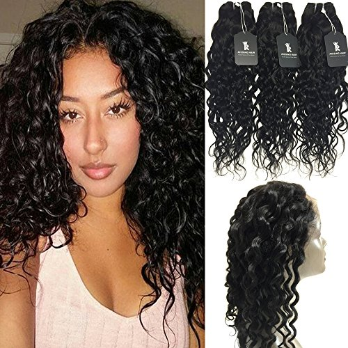 RISSING 360 Frontal with Bundles Pre Plucked Lace Frontal, Brazillian Water Wave Human Hair Bundles with Closure Prime Deals in Bulk Hair A Package for Cheap Deals on Amazon (14 - Deal Amazon